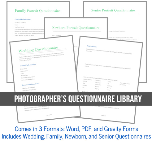 Photography Client Questionnaires for Photographers