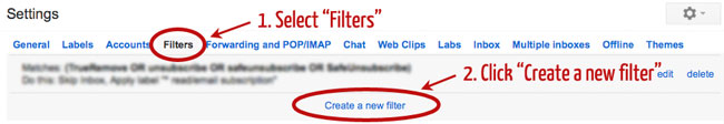 create new gmail filter