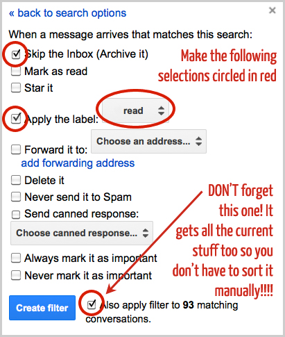 gmail filter selection
