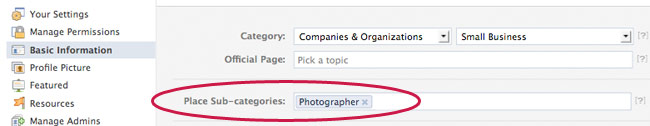 facebook page sub categories