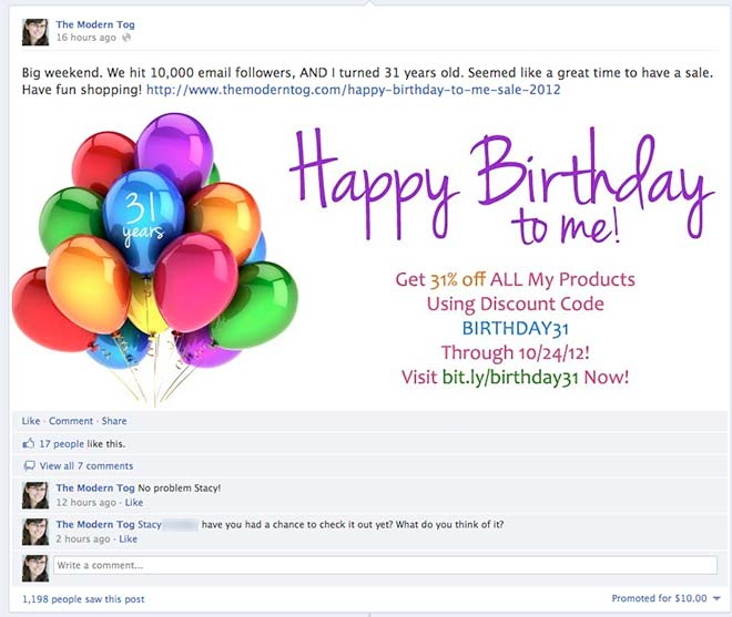 Facebook Birthday Sale Promoted Post and Results