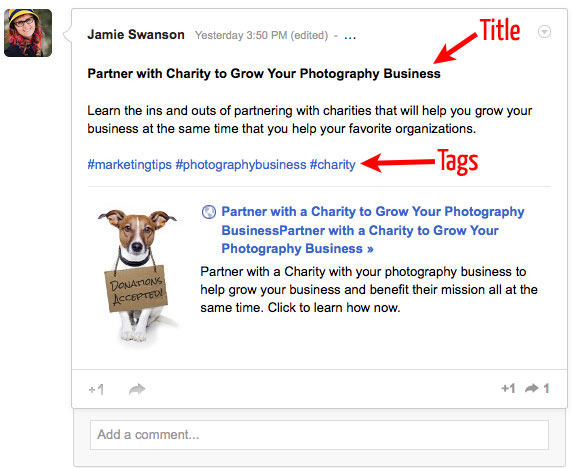 google plus post example