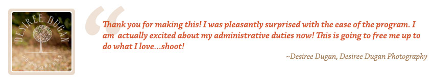 Photography Accounting Testimonial by Desiree Dugan