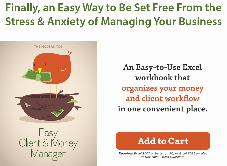 click to buy the easy client & money manager photography accounting software now