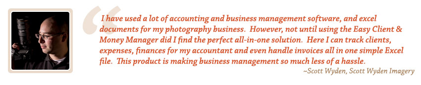 Photography Accounting Testimonial by Scott Wyden