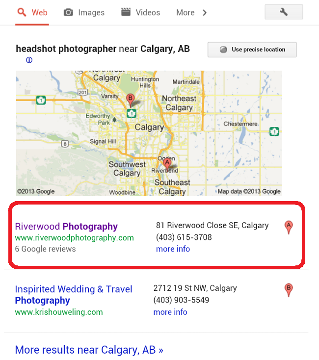 Google Local Search Results for Headshot Photographer