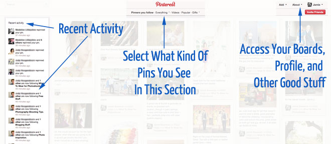 Pinterest Home Page Layout Features